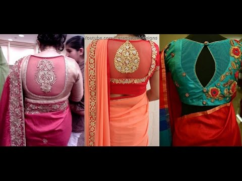 ae0e33bd5b3ded Net Blouse Designs Back Neck Pattern For Designer Sarees - YouTube