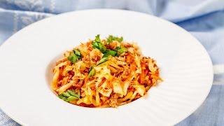 Любимые Рецепты.  Тушеная капуста с фаршем.  Отличное блюдо для вкусного обеда или ужина