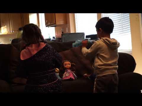 punjabi kids playing with Ena and Elsa toys gifts on Christmas