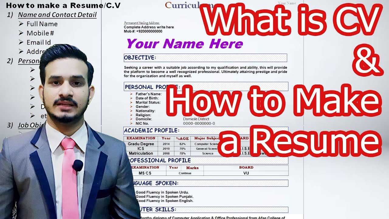 What Is Cv And How To Write A Successful Resume Or Cv Job