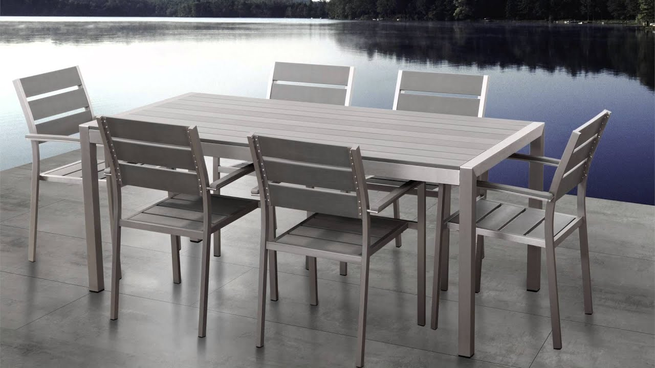 beliani aluminium garden furniture vernio polywood table 180 cm with 6 chairs eng youtube