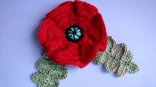 Как вязать мак Урок20 How to crochet poppy Cómo amapola crochet
