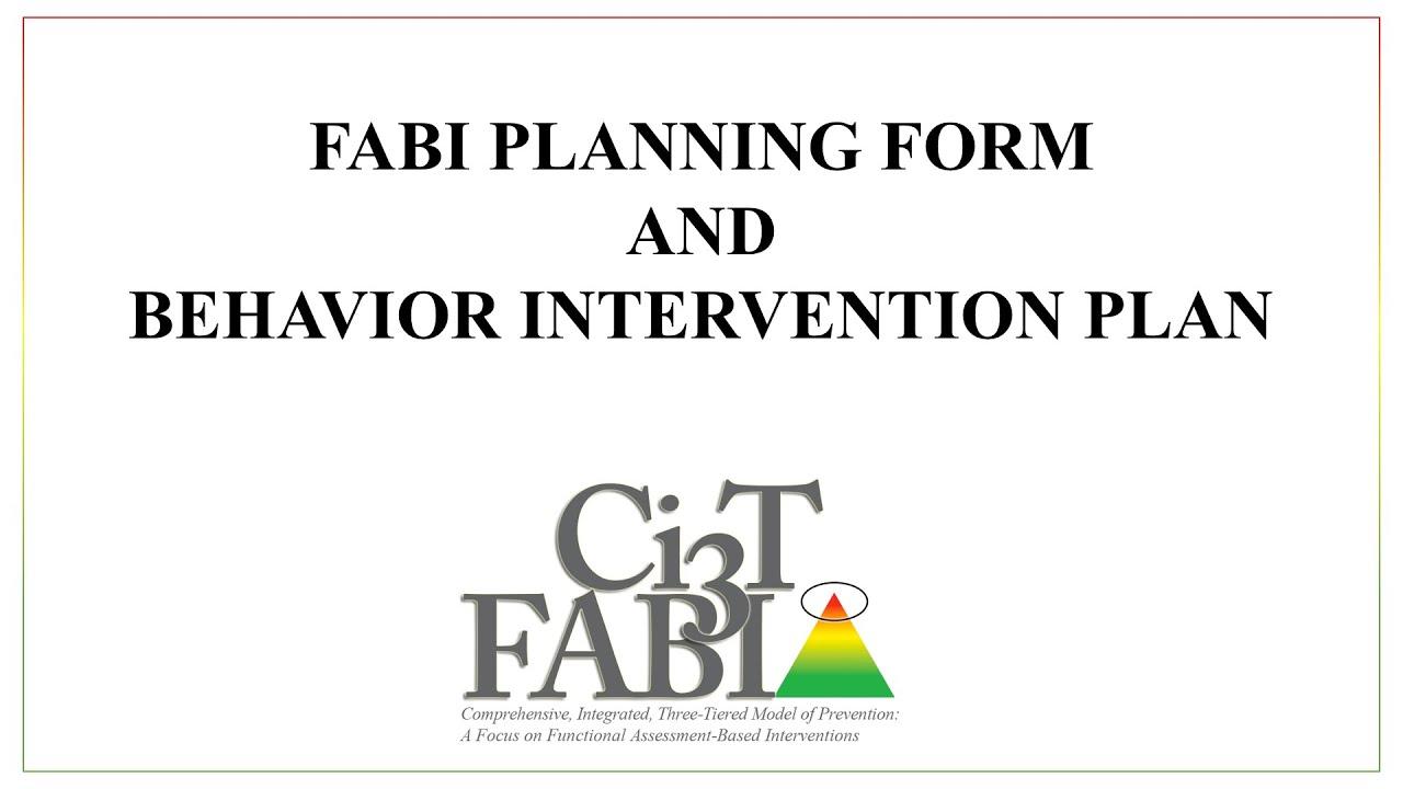 FABI Planning Form and Behavior Intervention Plan - YouTube