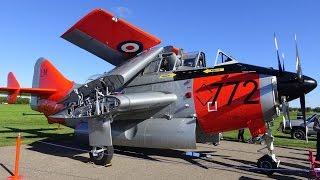 3,400 HP, 310 MPH, bi-fold wings, coaxial propellers, oldest flyingTurboprop, Fairey Gannet