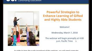 Powerful Strategies to Enhance Learning of Gifted and Highly Able Students (3/7/18)