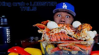 KING CRAB + SNOW CRAB + LOBSTER TAILS SEAFOOD BOIL | + DIPPIN DASH BUTTER SAUCE