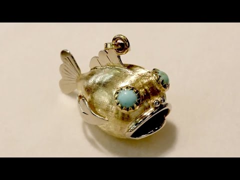 Turquoise And 18 Ct Yellow Gold 'Fish' Pendant - Vintage Italian Circa 1950 - A7366