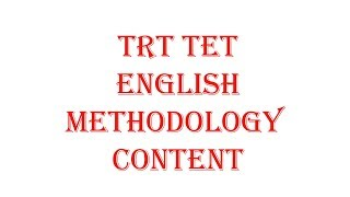 TRT TET English Methodology and Content