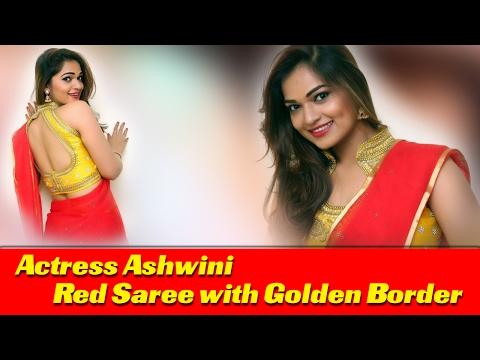 Ashwini PhotoShoot In Red Saree With Golden Border || Telugu Actress Photo Gallery || Meetub