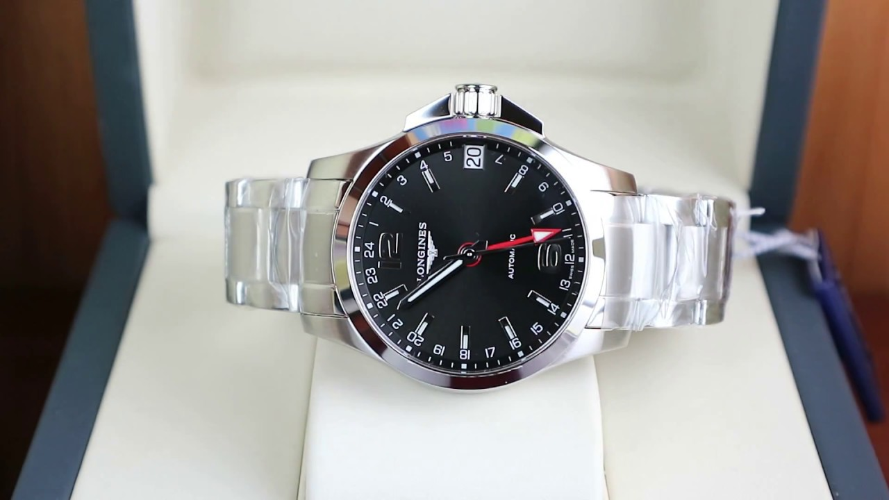 789514a3d Longines Conquest GMT 41mm Black Dial - YouTube