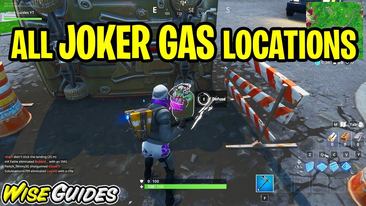 Defuse Joker Gas Canisters All Locations Guide Fortnite Welcome To Gotham City Challenges
