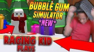 RAGING KID PLAYS CHRISTMAS BUBBLE GUM SIMULATOR UPDATE?! (Roblox)