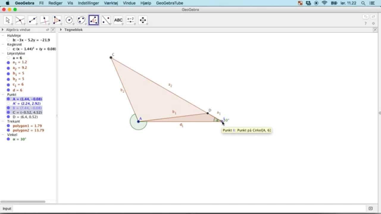 GeoGebra L8 - Trekant defineret ved to sider og en ikke mellemliggende vinkel