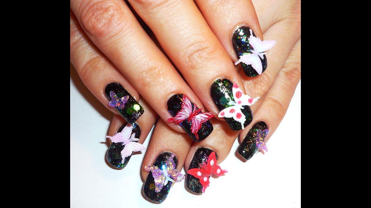 midnight 3d butterflies nail art