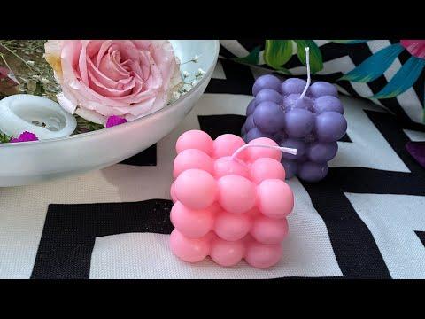 Bubble Mum Yapımı, Evde Renkli, Kokulu Kolay Mum Yapımı | How To Make Bubble Cube Candles ?