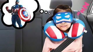 차에서 심심하면 어떻게 놀까요? 서은이와 유준이의 아이언맨 캡틴아메리카 쿠션 안대 히어로 놀이 Hero Cushion in Car | Seoeun Story