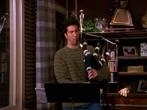 Ross playing the bagpipes - UNCUT - Friends s07e15