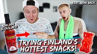 Trying Finland's HOTTEST snacks! feat. Roni Back