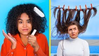 Short Hair vs Long Hair Problems / Funny Curly Hair Problems And Life Hacks thumbnail
