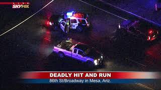DEADLY HIT-AND-RUN: SkyFOX over the scene in Mesa, Ariz. (FNN)