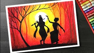 How to draw scenery on janmashtami - krishna drawing step by step with oil pastels
