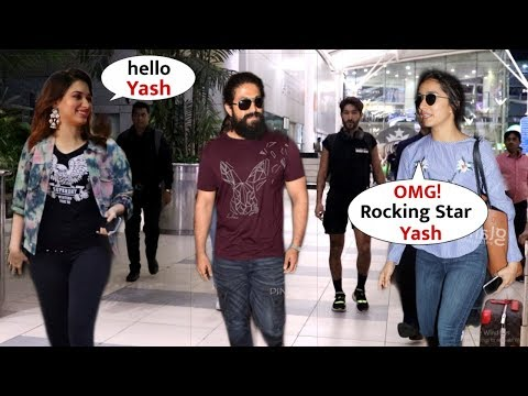 Rocking Star Yash Macho Entry Walk In Front Of Tamanna And Shraddha At Airport | KGF 2 Style Look