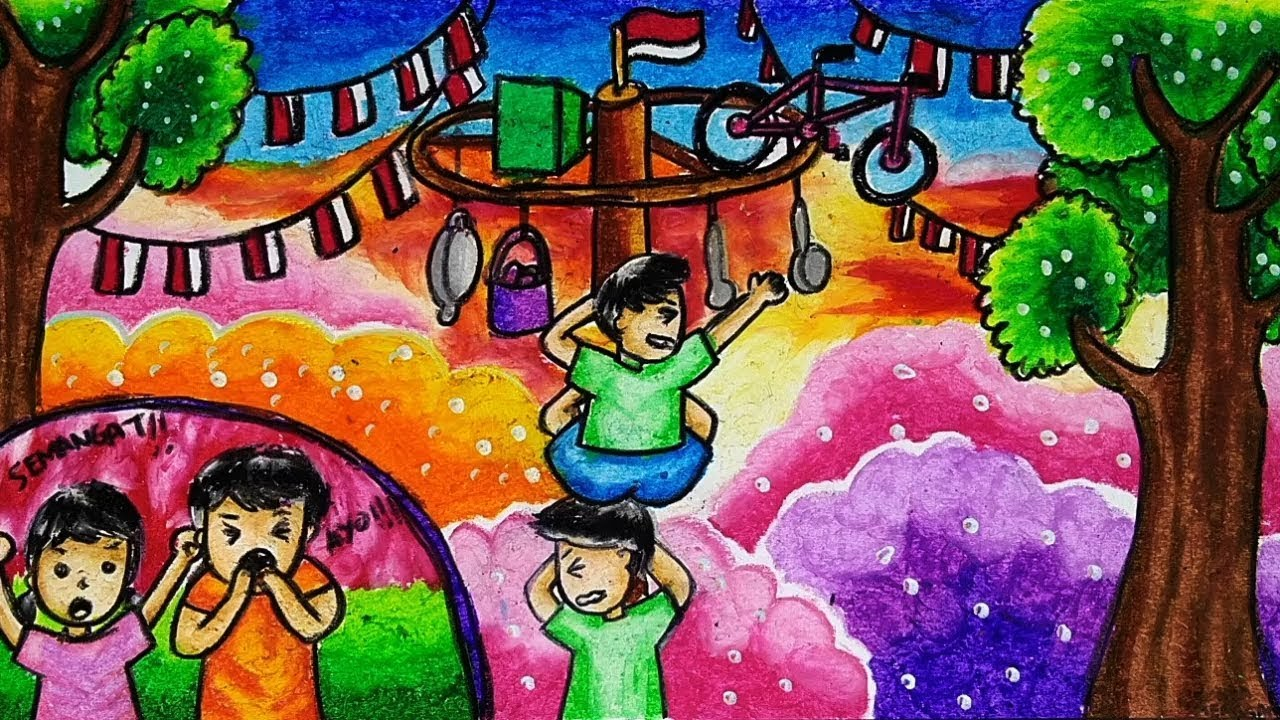 Cara Menggambar Dan Mewarnai Tema Lomba Panjat Pinang 17 Agustus Kemerdekaan Ri Yang Bagus Youtube