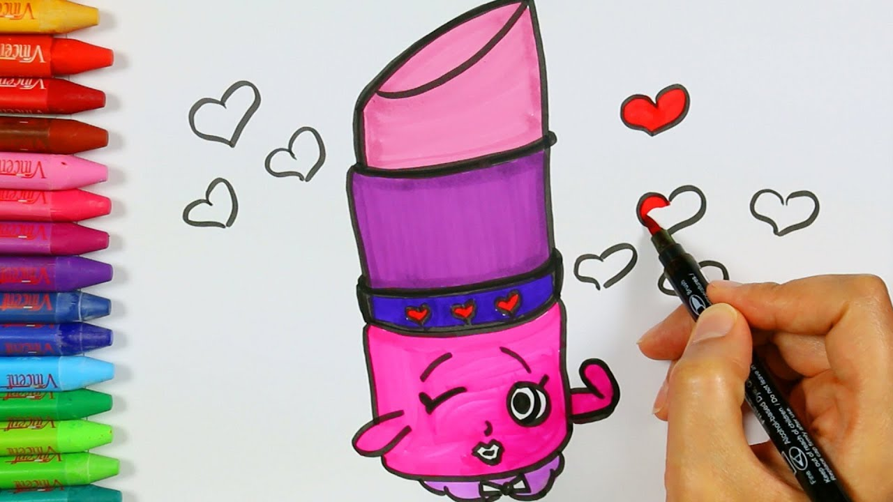 Página para colorear de lápiz labial ❤ | Cómo dibujar y color lápiz ...