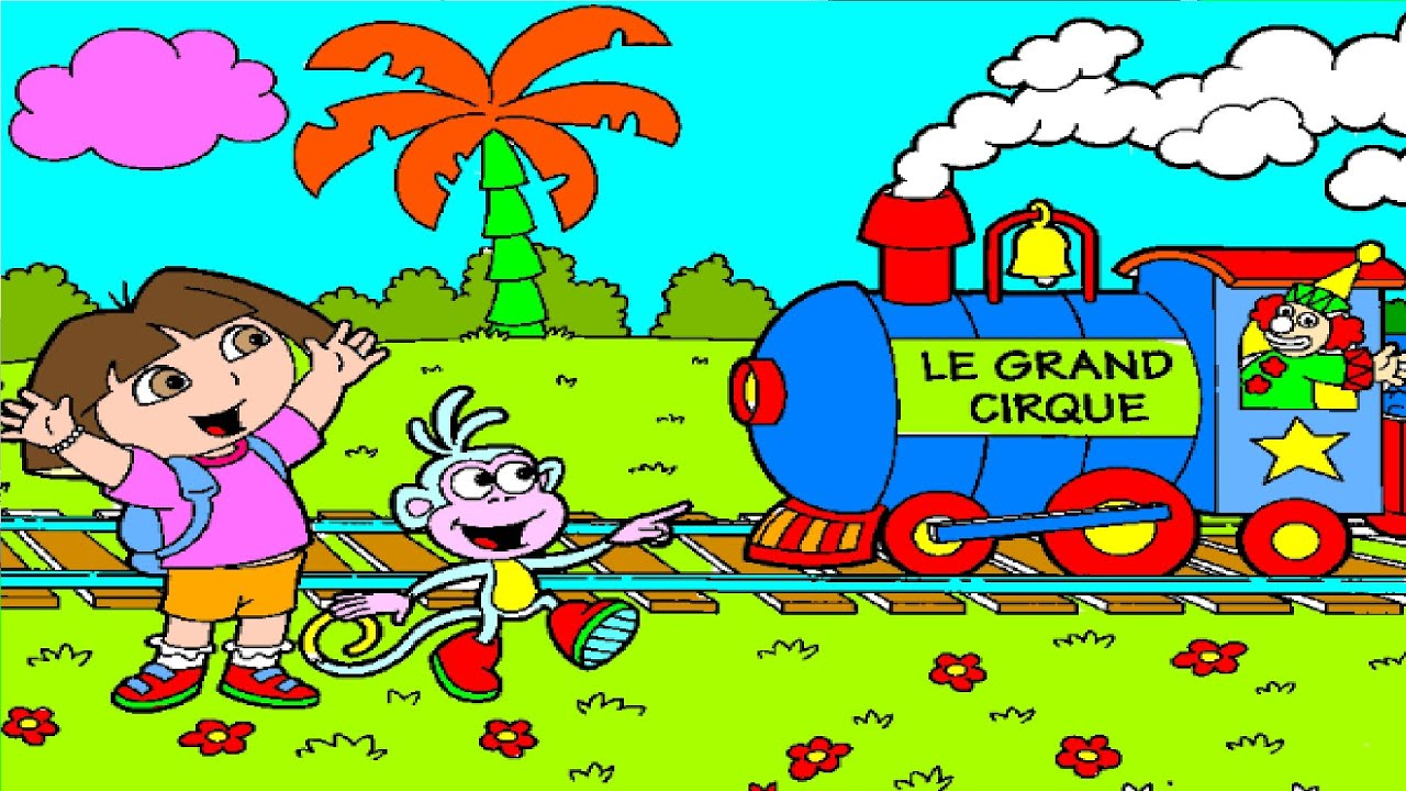 Dora Boots Clown Circus Train - Dora Coloring Pages - YouTube