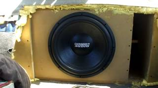 "Single 15"" Sub Bass Demo w/ Nightshade V2 Subwoofer / 1 Sundown 1500d @ Sanford Sound SPL Comp 2012"
