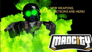 MAD CITY NEW WEAPONS! Riot Sheild, Uzis, Gas, Pistol S, METEORS EVERYWHERE! (Roblox Mad City)