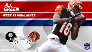 A.J. Green Grabs 2 TDs vs. Pittsburgh! | Steelers vs. Bengals | Wk 13 Player Highlights