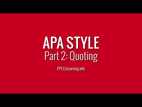 APA Style | Part 2: Quoting