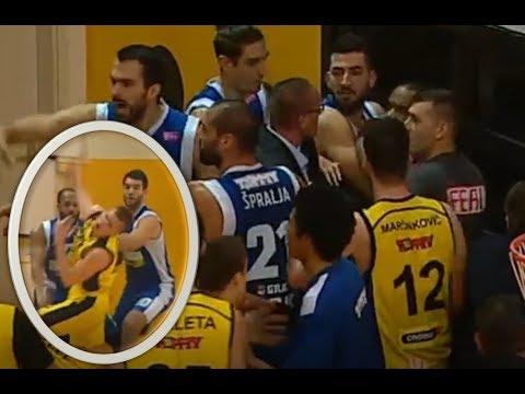 Preston Knowles and Mate Kalajžić FIGHT | THROWING PUNCHES | KK Split vs KK Zadar March 18, 2018