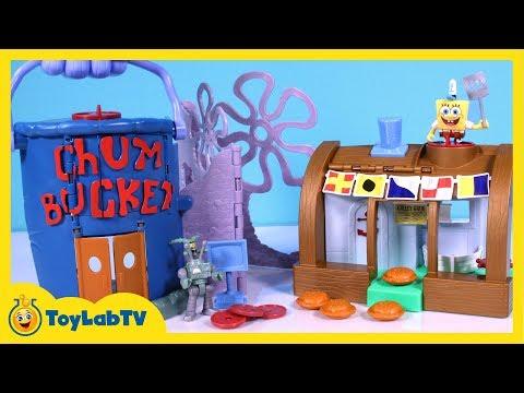 SpongeBob Krusty Krab Chum Bucket Launcher Playset with SpongeBob & Plankton Toys