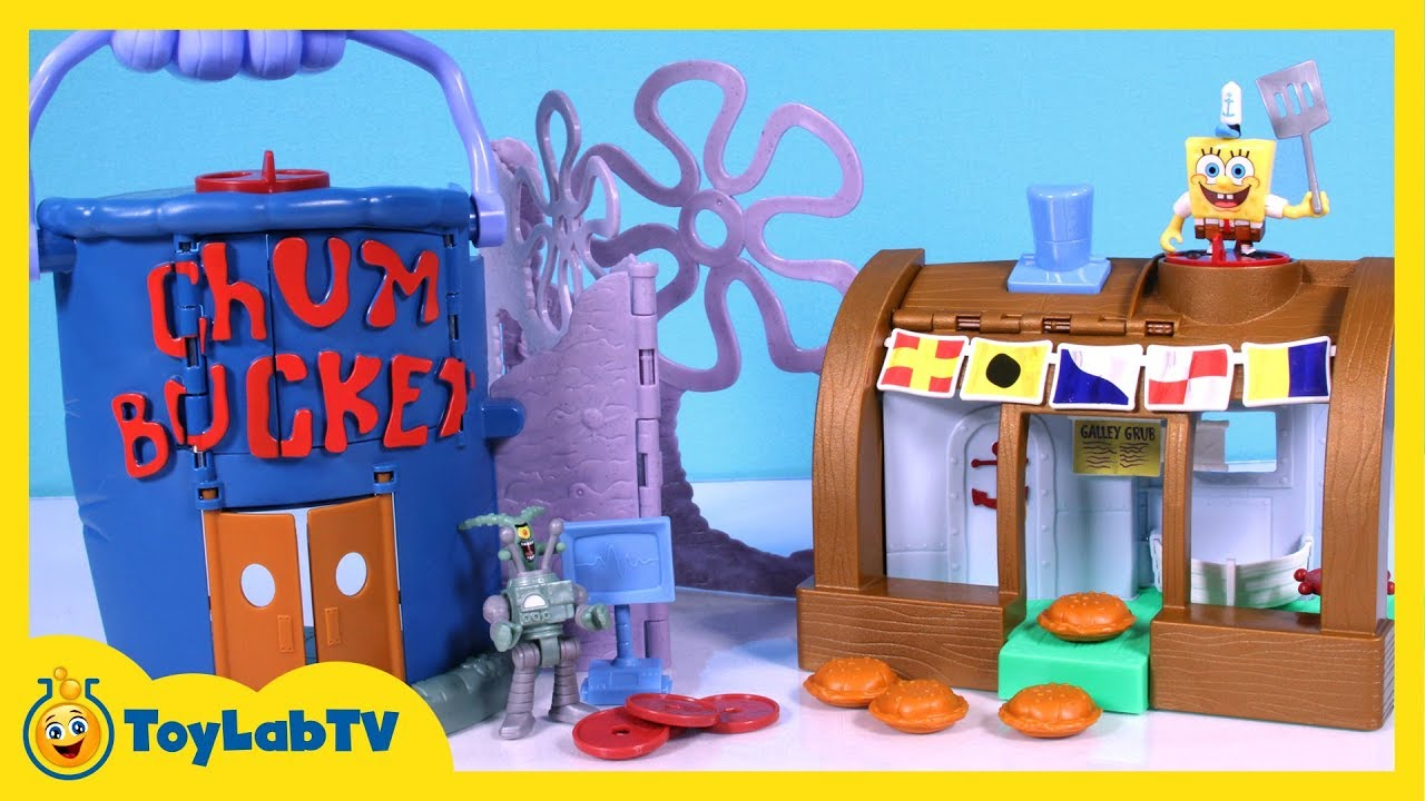 spongebob krusty krab chum bucket launcher playset from imaginext with spongebob u0026 plankton toys - Spongebob Bedroom Set