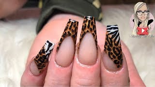 Animal print acrylic nails Zebra print Leopard print Coffin nails Long nails🦓🐆