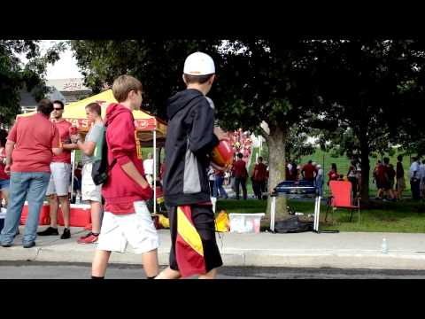 Iowa State Cyclones tailgating, people are rushing to their seats