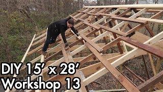 Building a 15'x28' (5mx9m) Workshop 13: Overhang, Roof Purlins