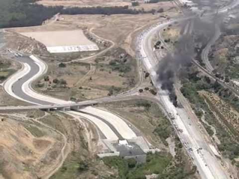 Tanker Truck Fire - 91 Freeway/Corona Expressway Interchange
