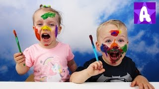 Funny Alex playing and Learns colors with Face paint
