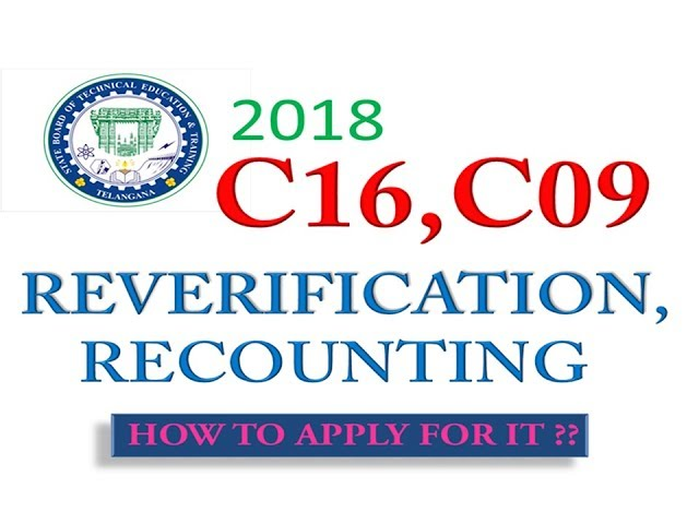 TS SBTET 2018 C16, C09 reverification, recounting, notification