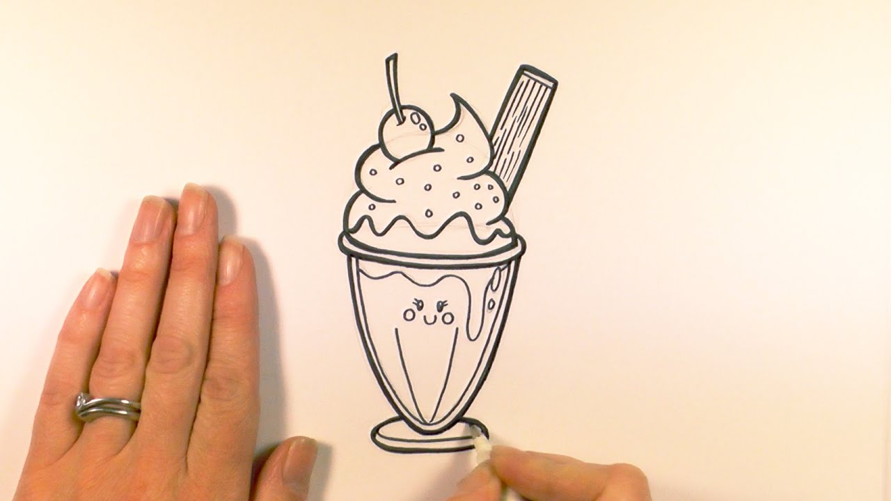 How To Draw A Cartoon Ice Cream Sundae Youtube