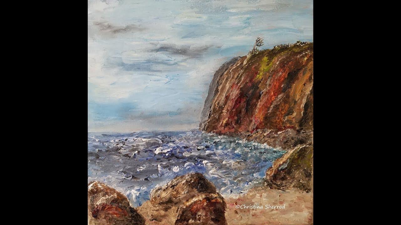 Seaside Cliff Rocks Palette Knife Acrylic Painting