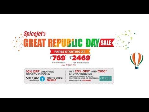 Spicejet 769 Offer | Spicejet Republic Day Offer 2018