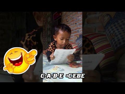 Lucu anak kecil belajar membaca sampai bingung sendiri