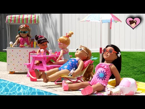 Baby Dolls Swimming in the Pool Party with American Girl Lil Sisters