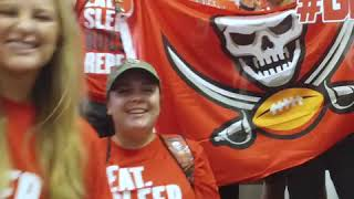 Tampa Bay Buccaneers flag is flying proudly over Moffitt Cancer Center at International Plaza