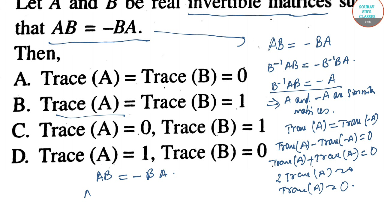 TRACE OF A MATRIX UGC NET ,MATHEMATICAL SCIENCES OBJECTIVE QUESTIONS ONLINE  LECTURES