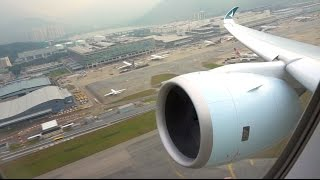 Cathay Pacific Airbus A350-900 XWB takeoff and climb through the clouds from Hong Kong!